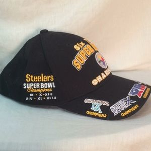 ... new release be108 e08a8 Reebok Accessories - RARE NWOT 6 time Super  Bowl Steelers Hat champions ... 2b26305ac